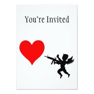 Armed Cupid Destroys Love 5x7 Paper Invitation Card