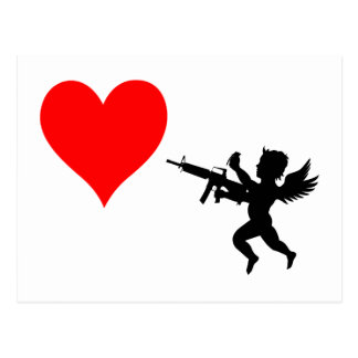 Armed Cupid Destroys Love Postcard