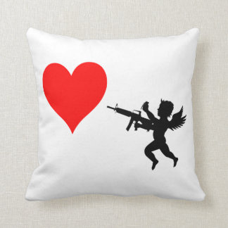 Armed Cupid Destroys Love Throw Pillow