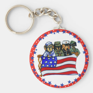 Armed Forces Dachshunds Keychains