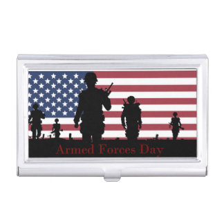 Armed Forces Day American Flag with Soldiers Case For Business Cards