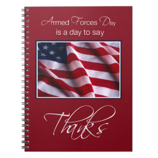Armed Forces Day Thank You Patriotic Americ Flag Notebook