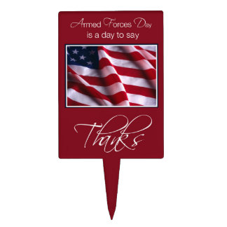 Armed Forces Day Thank You Patriotic America Flag Cake Toppers