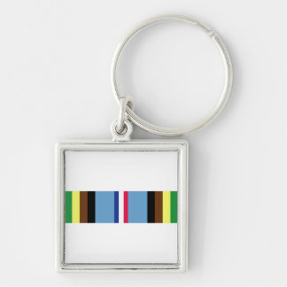 Armed Forces Expeditionary Ribbon Silver-Colored Square Keychain