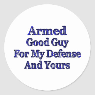 Armed Good Guy Round Stickers