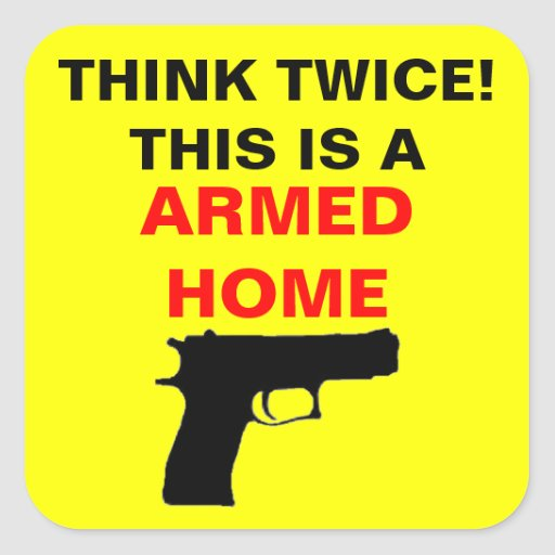 Armed Home Caution Square Stickers