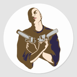 armed man armed one classic round sticker