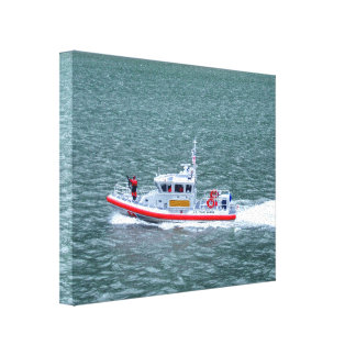 Armed U.S. Coast Guard On Patrol Ocean View Canvas Print