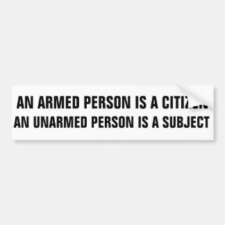 ARMED/UNARMED BUMPER STICKER