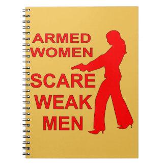 Armed Women Scare Weak Men Spiral Notebook