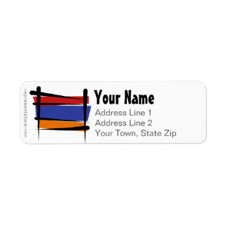 Armenia Brush Flag Label