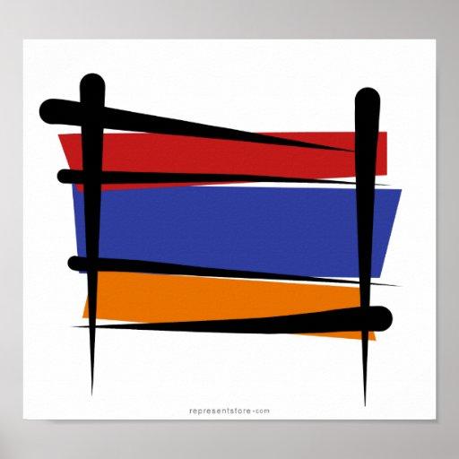 Armenia Brush Flag Posters