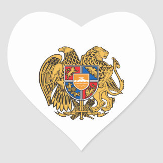 Armenia Coat of Arms Heart Stickers