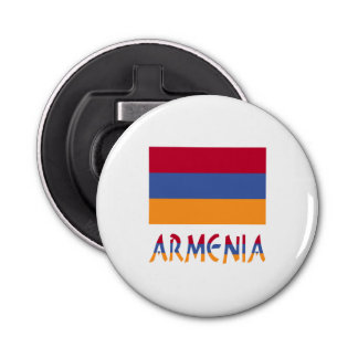 Armenia Flag and Word Button Bottle Opener