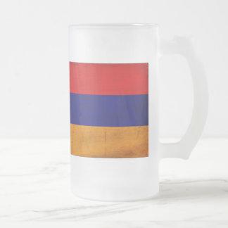 Armenia Flag Frosted Glass Beer Mug