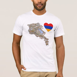 Armenia Flag Heart and Map T-Shirt