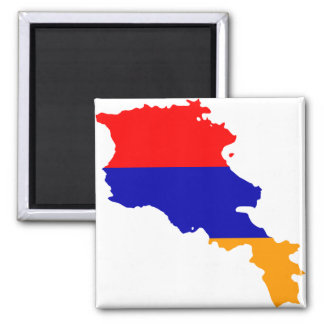 Armenia Flag map AM 2 Inch Square Magnet