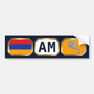 Armenia Flag Map Code Bumper Sticker Car Bumper Sticker