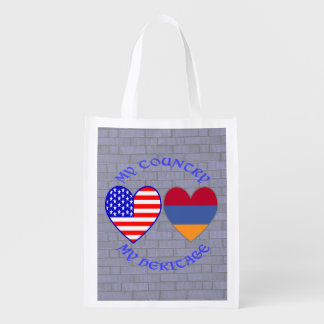 Armenia los E.E.U.U. mi país mi herencia Bolsas Reutilizables