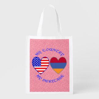 Armenia USA My Country My Heritage Reusable Grocery Bag