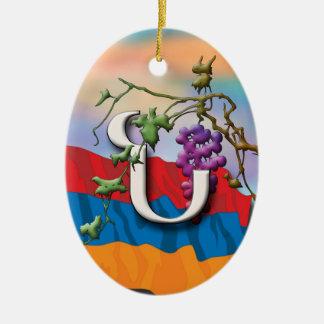 Armenian Alphabet Initials 'Noo' Ornament