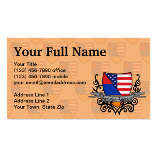 Armenian-American Shield Flag Business Card Template