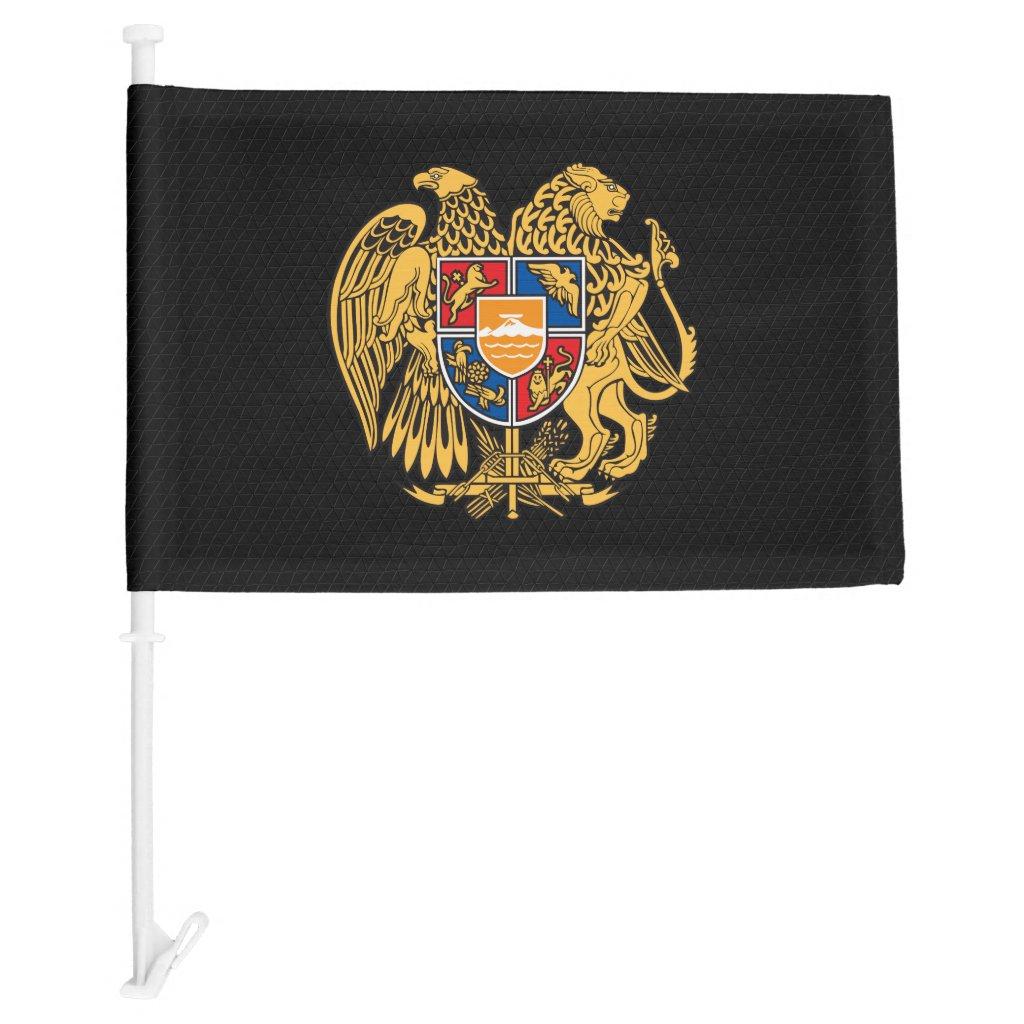 Armenian coat of arms car flag