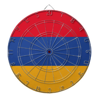 Armenian flag dartboard with darts