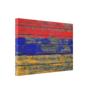 Armenian Flag on Rough Wood Boards Effect Canvas Print