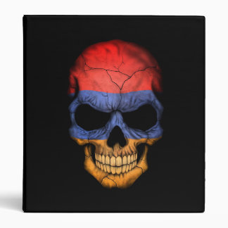 Armenian Flag Skull on Black 3 Ring Binder