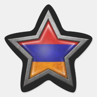 Armenian Flag Star on Black Star Sticker