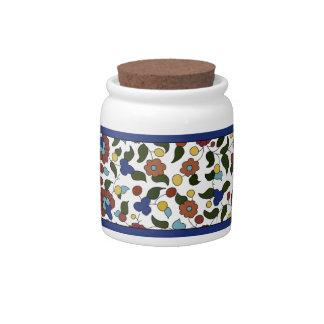Armenian Floral Pattern - Blue & White Candy Jars