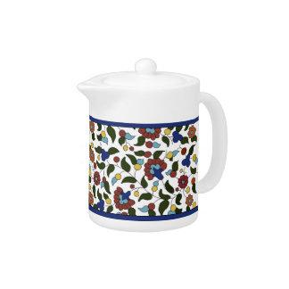 Armenian Floral Pattern - Blue & White Teapot