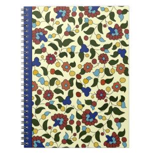 Armenian Floral Print - Navy Blue & Cream Notebook