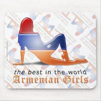 Armenian Girl Silhouette Flag Mouse Pad