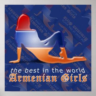 Armenian Girl Silhouette Flag Poster
