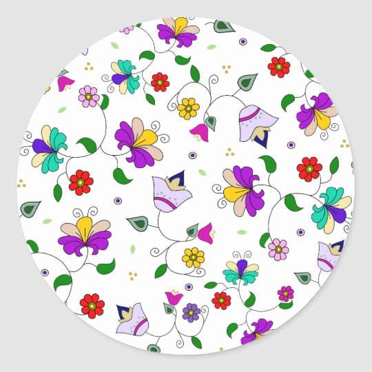 Armenian-inspired Colorful Swirling Flower Pattern Classic Round Sticker