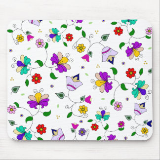 Armenian-inspired Colorful Swirling Flower Pattern Mouse Pad