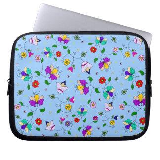 Armenian-inspired Curling Flower Pattern - Blue Laptop Sleeve