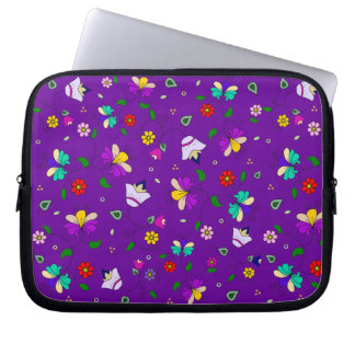 Armenian-inspired Curling Flower Pattern - Indigo Laptop Sleeve