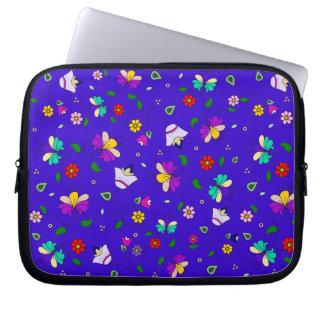 Armenian-inspired Curling Flower Pattern - Navy Laptop Computer Sleeve