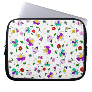 Armenian-inspired Curling Flower Pattern - White Laptop Sleeves