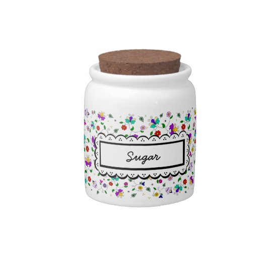 Armenian-inspired Floral Pattern - Black Candy Jars