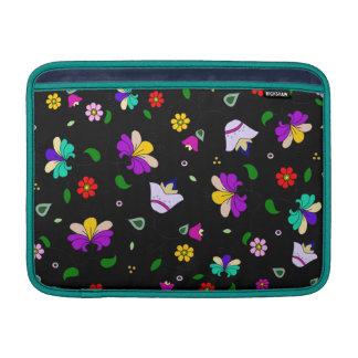 Armenian-inspired Floral Pattern - Black MacBook Sleeve