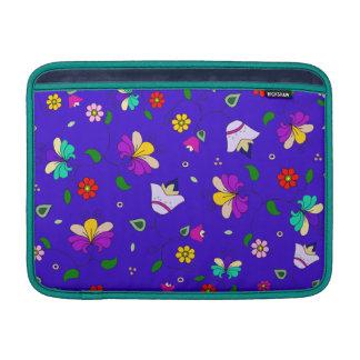 Armenian-inspired Floral Pattern - Navy Blue Sleeves For MacBook Air