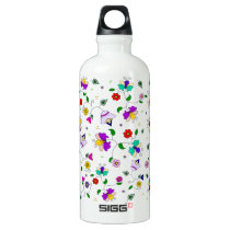 Armenian-inspired Floral Pattern - White Water Bottle