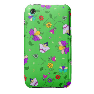 Armenian-inspired Swirling Floral Pattern - Green iPhone 3 Case