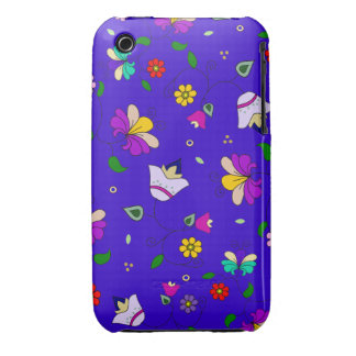 Armenian-inspired Swirling Floral Pattern - Navy iPhone 3 Case-Mate Case