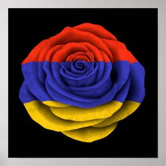 Armenian Rose Flag on Black Poster