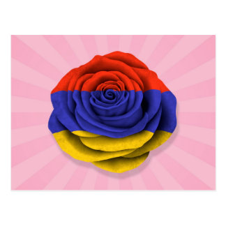 Armenian Rose Flag on Pink Postcard